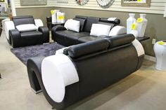 Modern Global Black and White Leather Sofa, Love Seat & Chair - Colleen's Classic Consignment, Las Vegas, NV - https://cccfurnishings.com