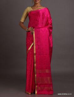 Samata Deep Pink Lace Border Rich #MysoreSilkSaree