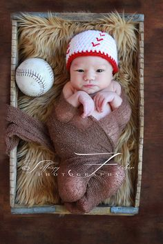 Baby baseball hat Newborn Photography Prop beanie sizes nb, 1-3mos, 3-6mos, 6-12mos. $16.00, via Etsy.