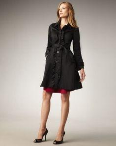 Kate Spade New York Ruffled Melissa Trench Jacket Rain Coat Black $645 Multi Sz | eBay