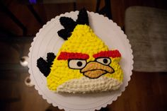 angry birds cake. yellow bird.  made from 9 inch round cake.