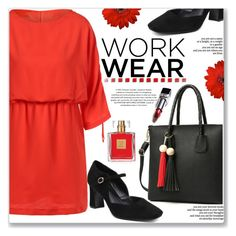 """""""Work Wear"""" by jecakns ❤ liked on Polyvore featuring Avon, WorkWear, orange, dress, BussinesWoman and zaful"""