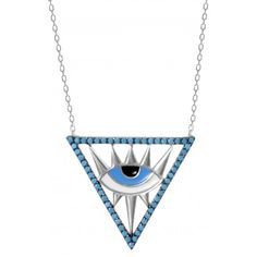 This third eye necklace made of 925 sterling silver with nano turquoise cz stones and enameled evil eye. The Eye is a symbol has long been used to protect the wearer from evil. Evil Eye Necklace, Third Eye, Insight, Knowledge, Wisdom, Sterling Silver, Eyes, Stone, Celebrities