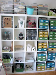 Beading cabinet...man I could use one of these ! & Bead storage. Golf ball showcase repurpose as seed bead storage ...