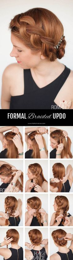 Try this DIY braided updo for your next formal event (or your wedding!) – Hair Romance – Up Hairstyles Cool Braid Hairstyles, Braided Hairstyles Tutorials, Formal Hairstyles, Up Hairstyles, Wedding Hairstyles, Hair Tutorials, Wedding Updo, Diy Tresses, Hair Romance
