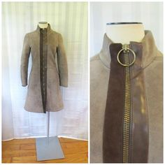4f2a82cbd13 Vintage Pierre Cardin Coat Mod Suede Leather and Shearling Fur 1960s 32    33 Bust O Ring Zipper Taupe Brown XS S RARE