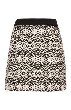 Black Tapestry Mini A Line Skirt