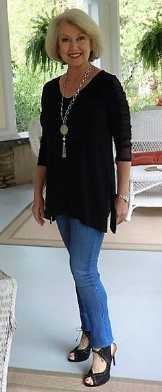 A great casual travel look, although you may need to change out the shoes if heels are a problem for you.