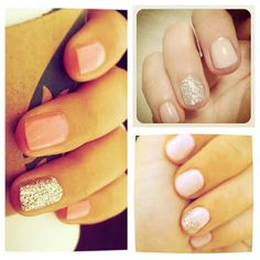2noblecrows: Favorite End of Summer Mani Trend-Nude/Sparkle Nail(s):