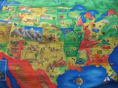 United States of America map fabric from Especially by fabricdepo, $12.50