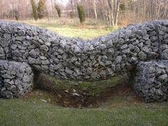 Gabion wall w/ drainage under