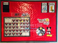 Wish Upon a Star with Jennifer: Disney Themed Preschool/Kindergarten Calendar… Mickey Mouse Classroom, Disney Classroom, Toddler Classroom, New Classroom, Preschool Rooms, Preschool Lessons, Preschool Kindergarten, Kindergarten Calendar Board, Classroom Calendar