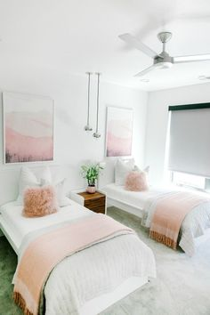65 Cozy Guest Room Design IdeasYou Have To See Shared Girls Room Cozy Design Guest guestroom IdeasYou room Twin Girl Bedrooms, Sister Bedroom, Teen Girl Rooms, Twin Bed Room, Bed Rooms, Ikea Girls Room, Girls Twin Bedding, Bedroom For Twins, Shared Girls Rooms