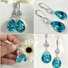 Teal Blue Earrings Swarovski Crystal Light Turquoise Earrings Bridal Earrings Teardrop Earrings Something Blue Bridesmaid Gift Tiffany Blue. $39.99, via Etsy.