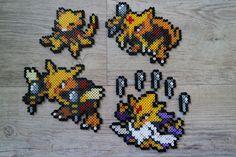 063 Abra 064 Kadabra 065 Alakazam Mega Alakazam - Perler Beads by Vicsene 151 Pokemon, Pokemon Craft, Hama Beads Pokemon, Pearler Beads, Pixel Art, Pixel Beads, Perler Bead Art, Perler Patterns, Bead Crafts