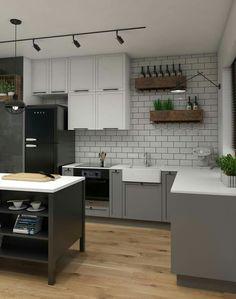 ideas for kitchen breakfast bar Kitchen Bar Design, Breakfast Bar Kitchen, Functional Kitchen, Kitchen Lighting, Contemporary, Modern, Kitchen Cabinets, Styl Vintage, Retro