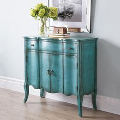 Distressed Curved Accent Cabinet