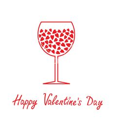 Wine glass with hearts happy valentines day card vector  - by Worldofvector on VectorStock®