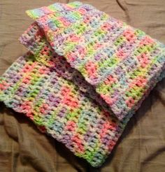 photos of amazing crocheted baby gifts | AMAZING BABY CROTCHET BLaNKET. Pink purple by GoodFunRandomness