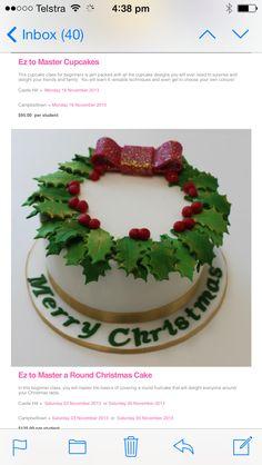 Christmas holly leaf cake