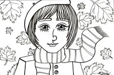 autumn fall cute girl scarf marker drawing by @maggie_creates_ @ma