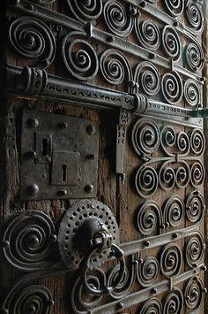 Door at Eglise Saintes Juste et Ruffine, Prats-de-Mollo-la-Preste, Languedoc-Roussillon, France