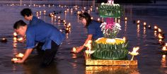 """Loi Krathong  is a festival celebrated annually throughout Thailand and certain parts of Laos and Burma (in the Shan State). The name means roughly """"Floating Crown"""", and comes from the tradition of making crowns which are then floated on a river.Loi Krathong takes place on the evening of the full moon of the 12th month in the traditional Thai lunar calendar. In the western calendar this usually falls in November."""