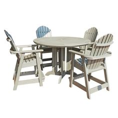 Outdoor Highwood Hamilton Recycled Plastic 5 Piece Round Counter Height Adirondack Patio Dining Set - AD-CNA48-