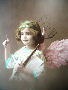 Antique angel postcard  Christmas wings little by LizKnijnenburg