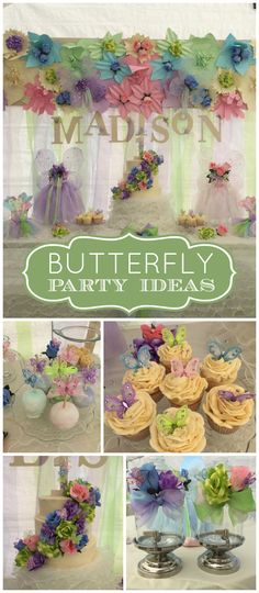 Stunning paper flowers decorate this beautiful butterfly party! See more party ideas at CatchMyParty.com!