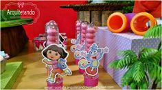 Festa Dora à Aventureira A Lara ama a Dora, então a mamãe e minha amiga Darlene Guimarães que não ousasse em mudar o tema da festa. rsrsrs...