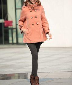 Women Orange pink cape Wool Cape Cashmere coat double breasted button coat winter coat Hood cloak Hoodie cape Hooded Cape/cloth /jacket. $69.90, via Etsy.