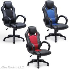 Adjustable Hydraulic High Back Ergonomic Office Chair Bucket Seat Swivel Leather #Unbranded #Bucket