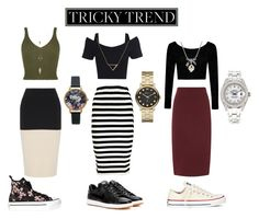 """""""Skirts and Sneakers"""" by fischer-regan ❤ liked on Polyvore featuring rag & bone, Boohoo, NIKE, Converse, Marc by Marc Jacobs, Rolex, Banana Republic, MBLife.com, Olivia Burton and Charlotte Russe"""