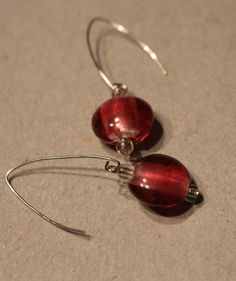 Magenta Glass Bead Dangle Earrings by APromisedHope on Etsy