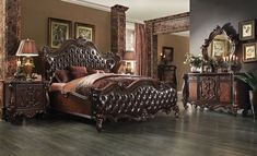 21120 Acme Versailles Bedroom Set Collection Cherry Oak Finish 2 Tone Dark Brown Pu Upholstery with regard to size 1713 X 1040 Cherry Oak Bedroom Upholstered Bedroom Set, Oak Bedroom Furniture, Acme Furniture, Bedroom Decor, Bedroom Ideas, King Furniture, Design Bedroom, King Size Bedroom Sets, Queen Bedroom