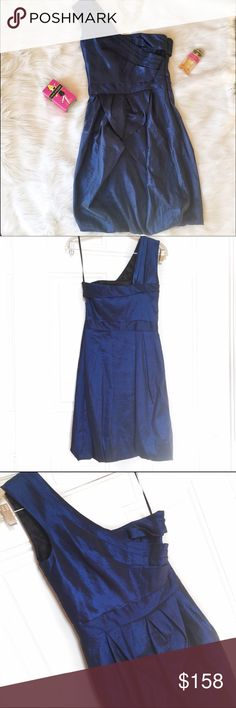 """Max and Cleo NYE Dress Size 4 Beautiful royal blue dress from Max and Cleo is new with Tags. Ruffle details on front and one strap adds sweet and edgy details to this mini dress. Measurements from Brand: Bust- 35""""; Waist- 27""""; Hips- 36.5"""" Max & Cleo Dresses Mini"""