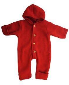 Merino Wool Organic Fleece Baby Newborn Romper Hooded Footed 36 mon Red