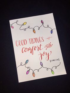 Simple hand drawn / colored pencil lights + calligraphy diy Christmas cards