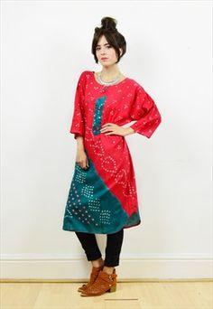 90s red/green tie dye hippie cotton tunic