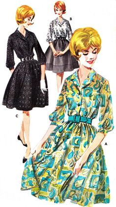 1960s Dress Pattern Butterick 2665 Mad Men Shirtdress Pattern and Full Slip Womens Vintage Sewing Pattern Bust 38