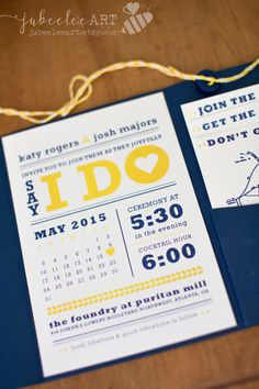 Modern navy blue and yellow calendar style wedding by JubeeleeArt