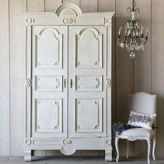 Eloquence One of a Kind Antique Armoire Carved French Swedish Gray