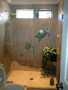 Bathroom remodel beach home bathroom. sea turtle bathroom