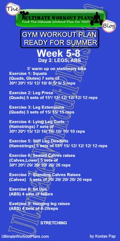 2 GYM WORKOUT PLAN READY FOR SUMMER MEN DAY 3 LEGS ABS » UltimateWorkoutPlans.com