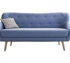 Canapé fixe 3 places en tissu OSLO coloris bleu