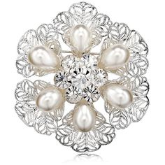 Filigree Pearl Flower Brooch Pin Silver (245 UAH) ❤ liked on Polyvore featuring jewelry, brooches, brooch, flower jewellery, silver filigree jewellery, silver jewelry, pin brooch and flower broach