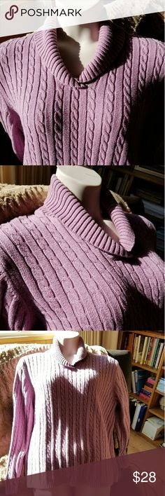 Plus size cotton sweater Beautiful cable knit sweater in orchid. Long sleeves,  short shawl collar and unfitted hem line, very cosy and comfortable. 100% cotton by Croft & Barrow. In excellent used condition. Croft & Barrow Sweaters