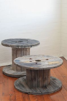 Just love these wooden spool coffee tables!