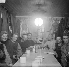 Amundsen's crew at Framheim, 1911/1912From left to right: Adolf Lindstrøm, Sverre Hassel, Oscar Wisting, Helmer Hanssen, Roald Amundsen, Jørgen Stubberud, and Kristian Prestrud